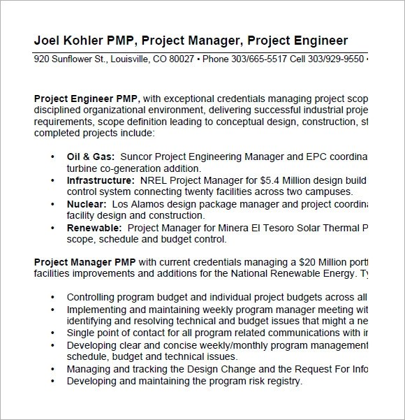 10 Project Manager Resume Templates \u2013 Free Samples , Examples - Project Manager Resume Format