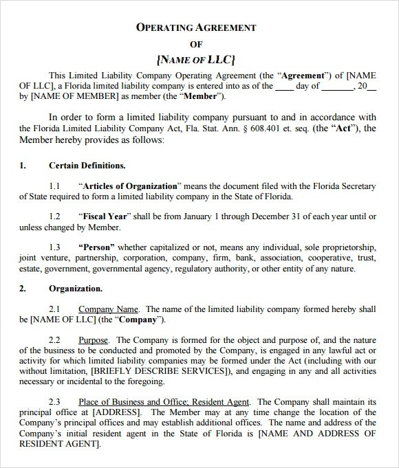 LLC Operating Agreement - 11+ Download Free Documents in PDF , Word