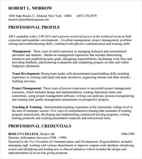 examples of mba resume