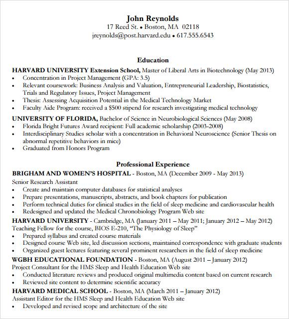 resume examples mba