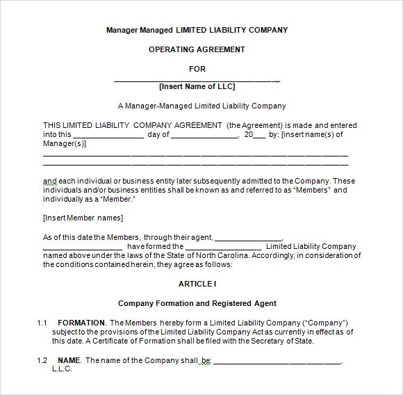 Sample Operating Agreement For Multi Member Llc | Create