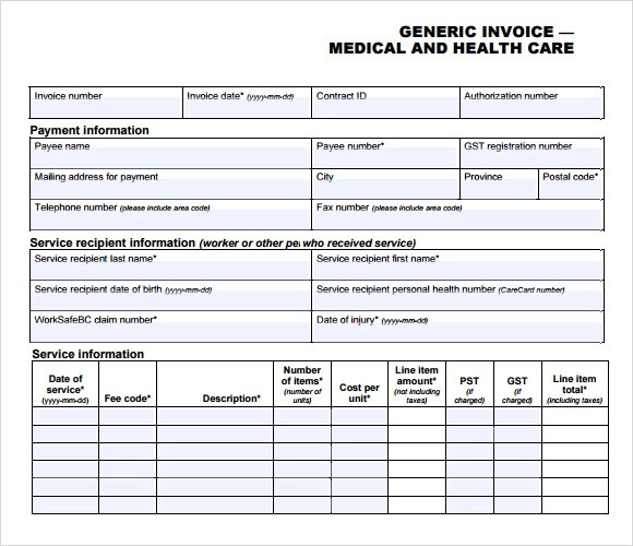 Medical Invoice Template - 8+ Free Samples, Examples, Format - generic invoice