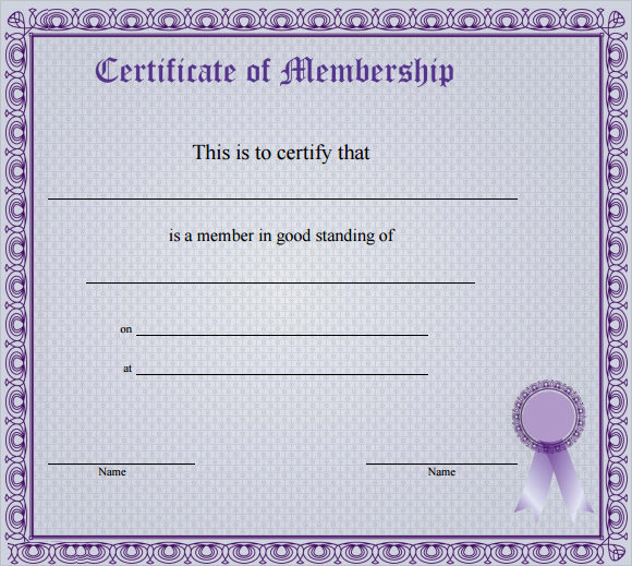 15 Membership Certificate Templates \u2013 Free Samples , Examples - membership certificate templates