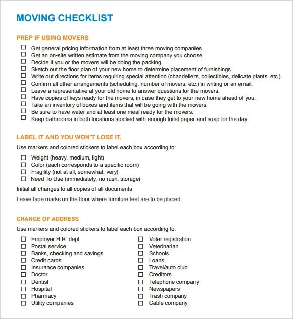 House Moving Checklist Template Uk | Human Resources Hartford Hospital