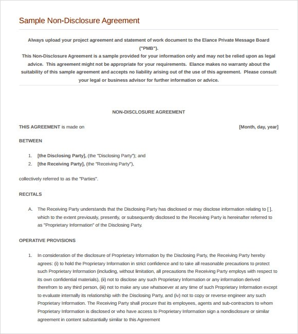 non disclosure agreement word document - 28 images - 6 non - Nda Template Word