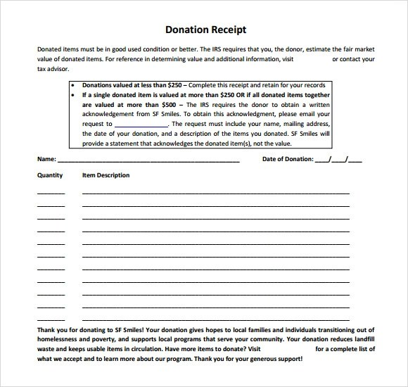 10 Donation Receipt Templates \u2013 Free Samples, Examples  Format