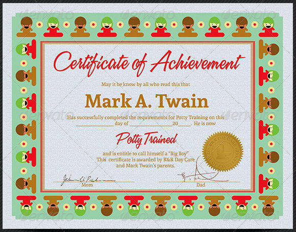 certificate of training template word