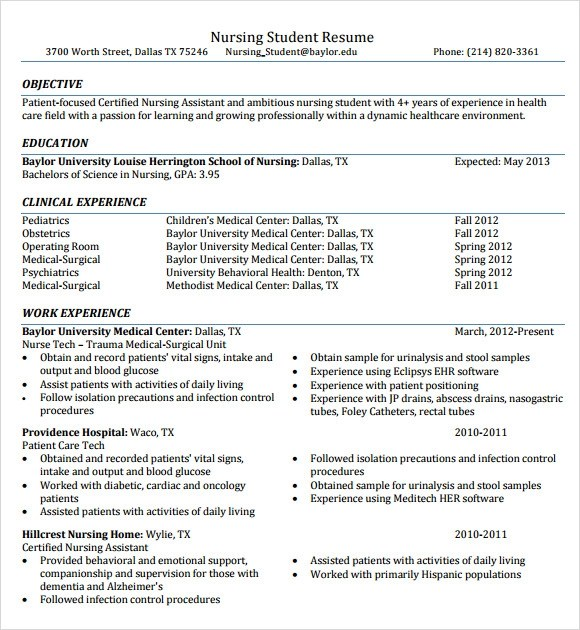Nursing Resume - 8+ Free Samples , Resumes , Format