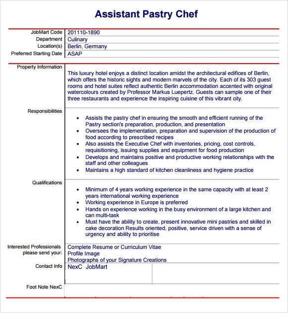 pastry resume examples