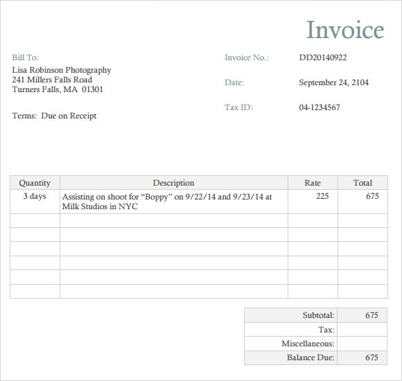 8 Photography Invoice Templates \u2013 Free Samples, Examples  Format - bill invoice template free