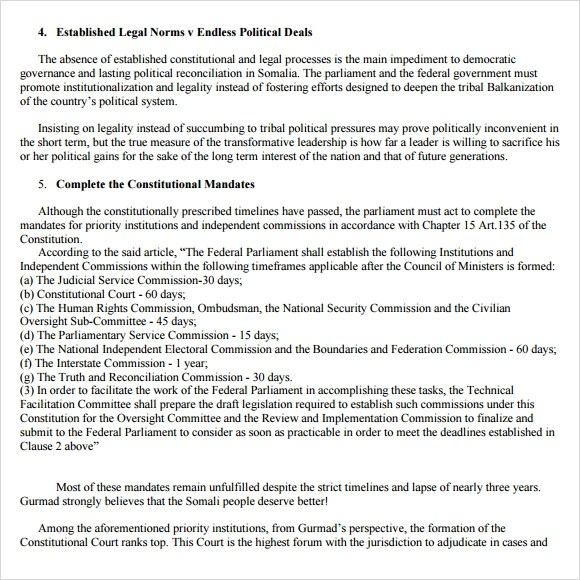 Sample Political Agenda - 6+ Example, Format