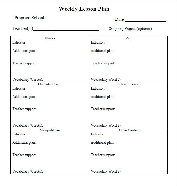 8+ Weekly Lesson Plan Samples Sample Templates - sample weekly lesson plan