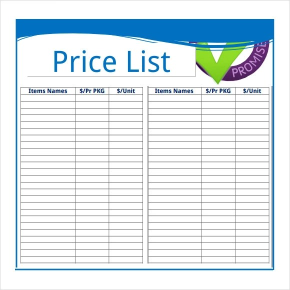 pricing sheet templates - Jolivibramusic - price list templates