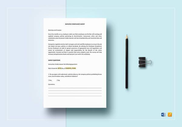 employee survey template word