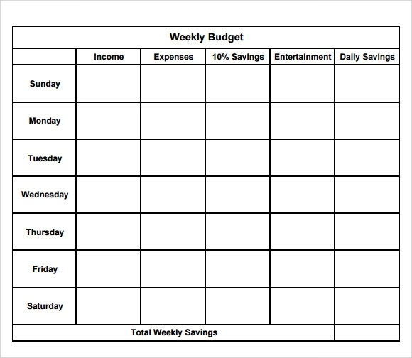 8+ Weekly Budget Samples, Examples, Templates