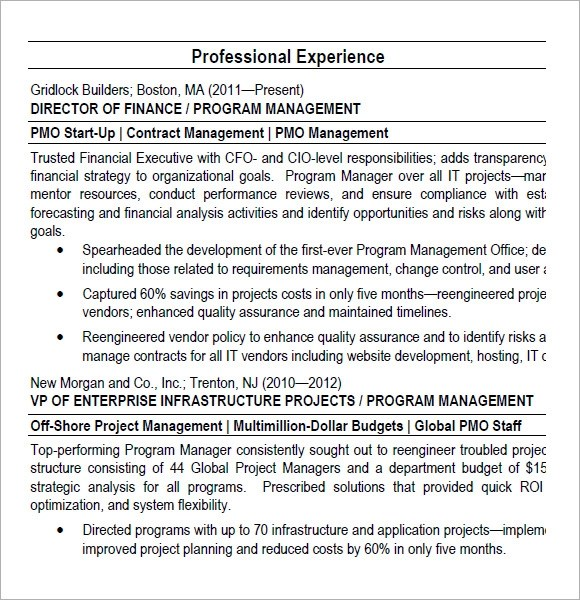 10 Project Manager Resume Templates \u2013 Free Samples , Examples