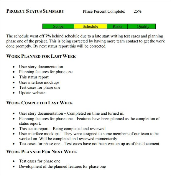 8+ Status Report Samples Sample Templates - Project Summary Report Sample