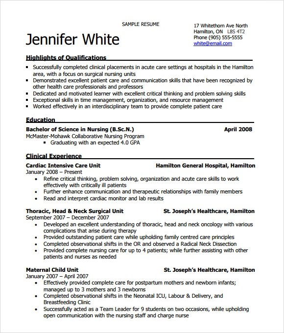 nursing resume 8 free samples resumes format rn resume template - Charge Nurse Resume Sample