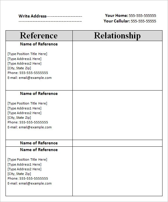 Professional Reference List Template | Resume For Internship In