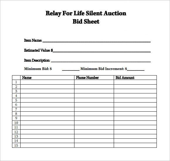 Bid Sheet Template Free Templatebillybullock – Sample Silent Auction Bid Sheet