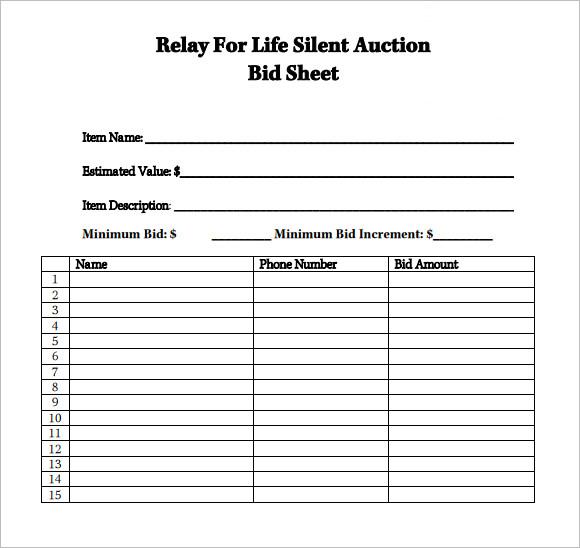 silent auction item template