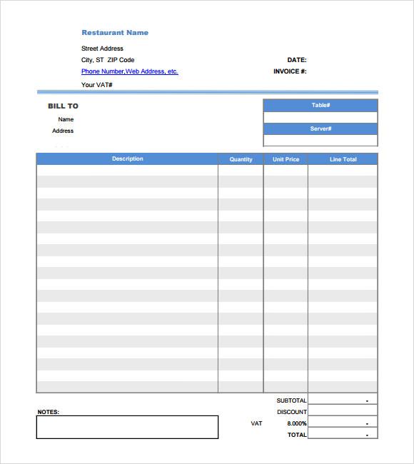 19+ Restaurant Receipt Templates \u2013 PDF, Word, Excel Sample Templates