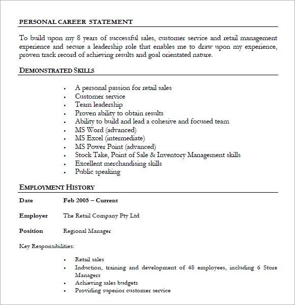 Retail Resumes \u2013 7+ Free Samples , Examples , Format