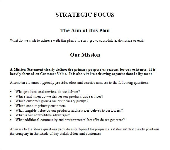 11+ Strategic Plan Templates \u2013 Free Samples, Examples  Format