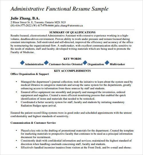 Sample Resume Template - 24+ Free Samples , Examples , Format - resume template for administrative assistant