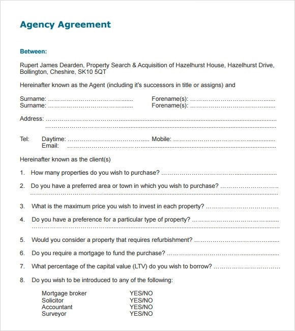 10+ Agency Agreement Templates \u2013 Free Samples, Examples  Format - agent contract template