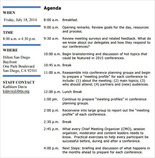 sample agenda with times