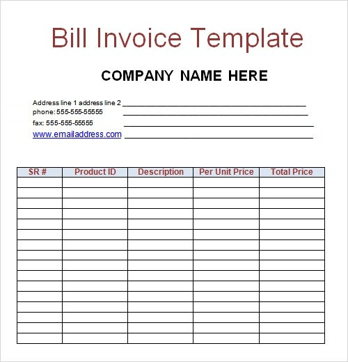 sample billing invoice template