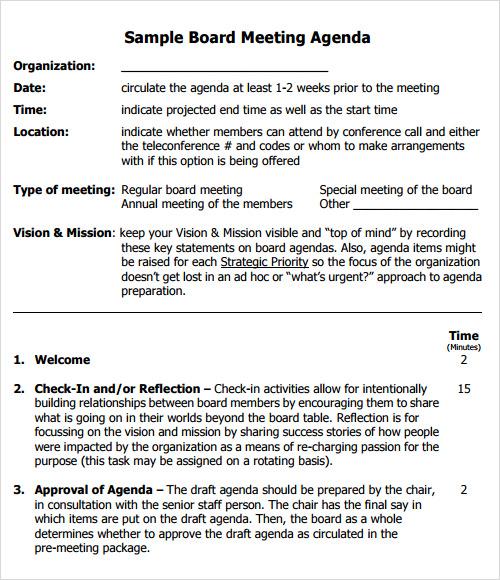12 Sample Agenda Templates Sample Templates - board meeting agenda samples