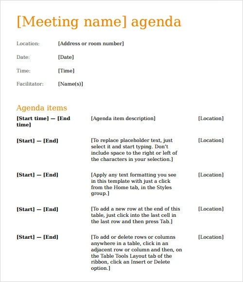 Meeting Template Agenda  NodeResumeTemplatePaasproviderCom
