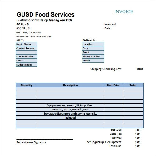 Catering Invoice Template Word Investasibimbelinfo Catering Invoice - sample catering invoice