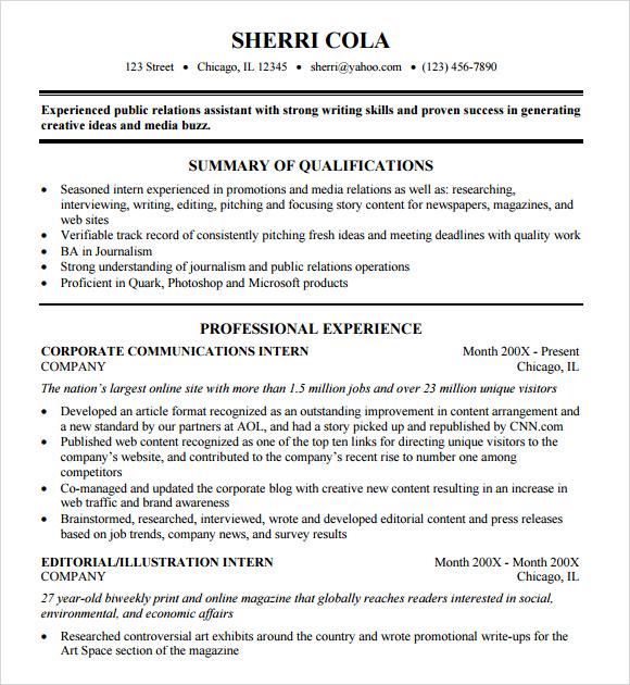 resume sample student college