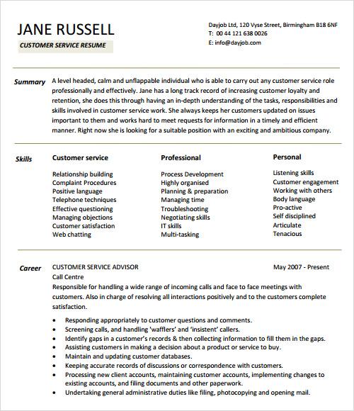 resume template customer service efficiencyexpertsus - Sample Customer Service Resumes