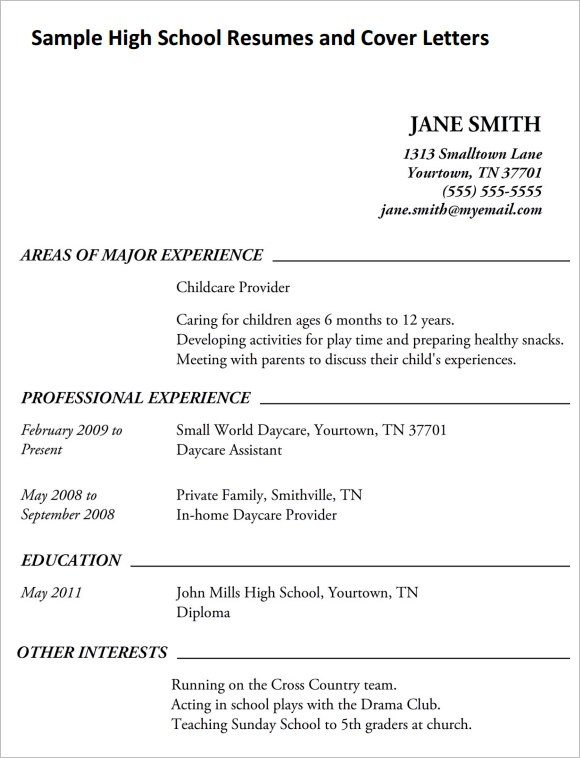 High School Resume \u2013 9+ Free Samples , Examples , Format