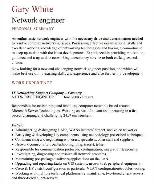 it network engineer resume template