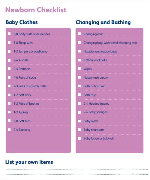 Sample Newborn Checklist Newborn Checklist Essentials Sample
