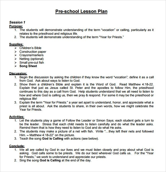 10+ Sample Preschool Lesson Plans Sample Templates - Preschool Lesson Plan Template