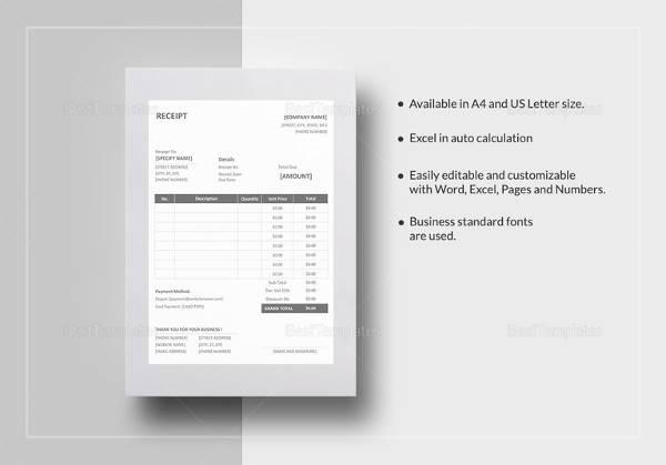 22 Blank Receipt Templates \u2013 Free Samples, Examples  Format