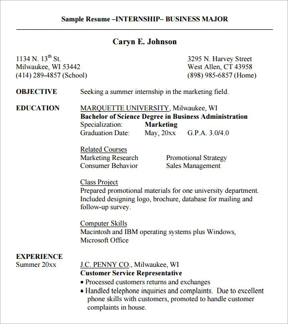 10 Internship Resume Templates \u2013 Free Samples , Examples  Format - sample of resume for internship