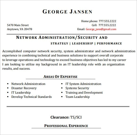 9 Network Engineer Resume Templates \u2013 Free Samples , Examples - Resume Sample For Network Engineer