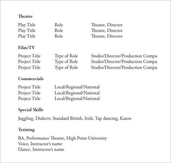 sample resume templates pdf