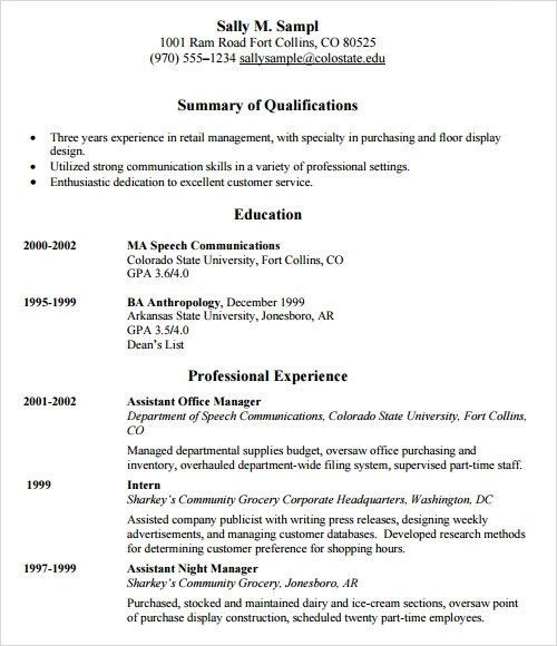 sample resume template 24 free samples examples format retail resume template