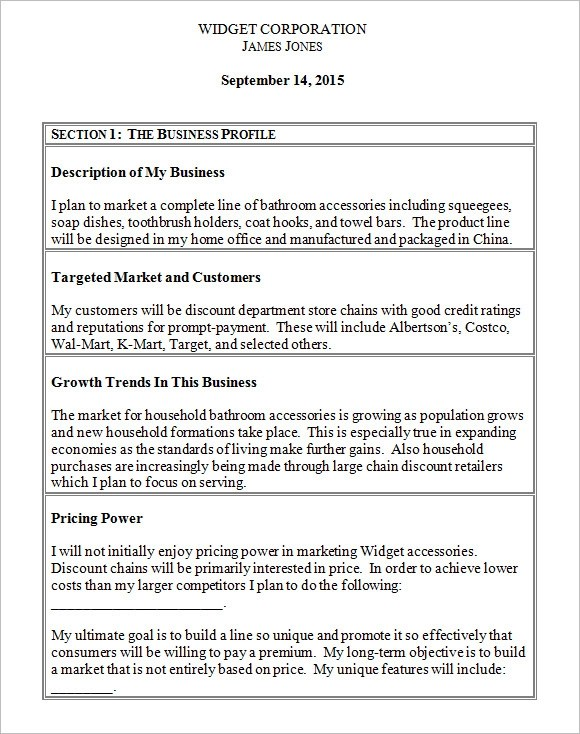 Sba Business Plan Template For Daycare  How To Write A Job Resume