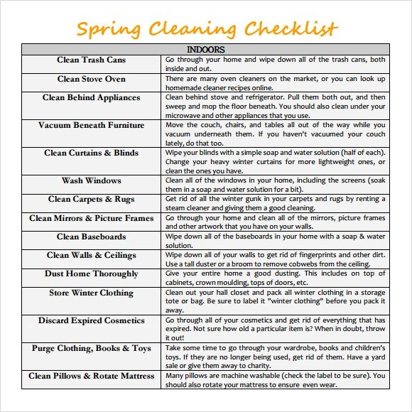 Sample Spring Cleaning Checklist - 10+ Example, Format - spring cleaning checklist