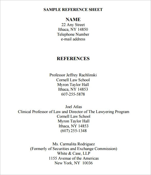 Reference Letter Sample Reference Letter Template Sample Reference Sheet 8 Examples Format