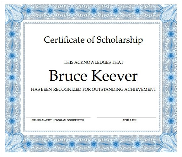 Sample Scholarship Certificate Template - 9+ Documents in PSD, PDF, PPT